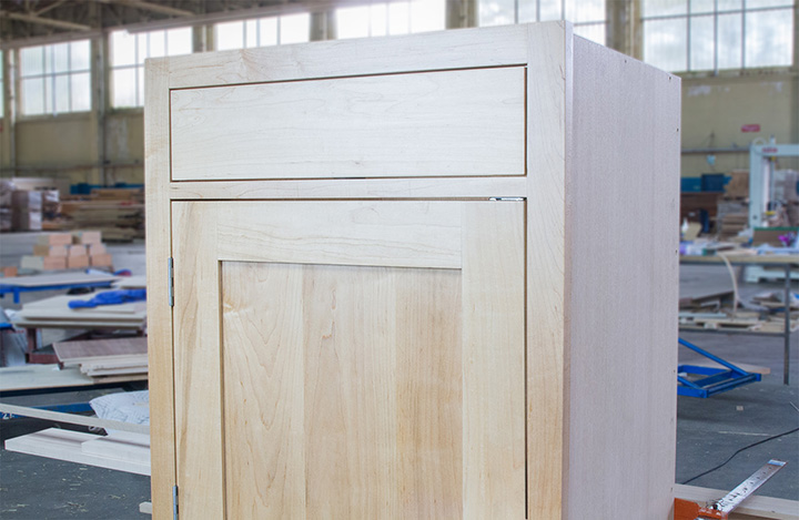 cabinet with maple face frame