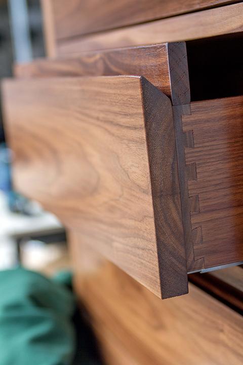 recessed walnut handle drawers