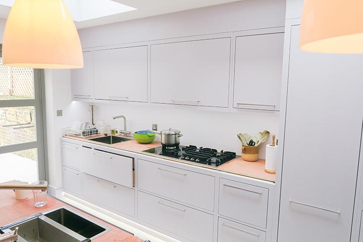 minimalist bespoke painted cabinetry