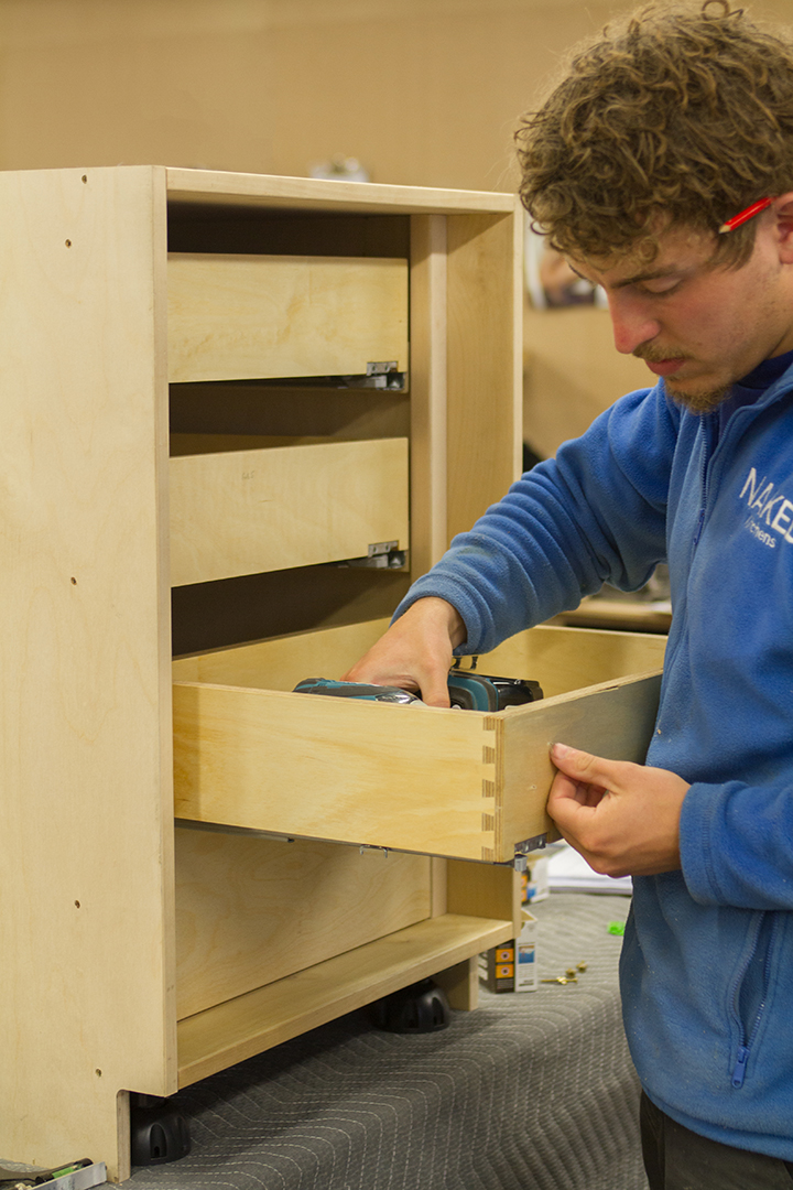 assembling birch cabinetry