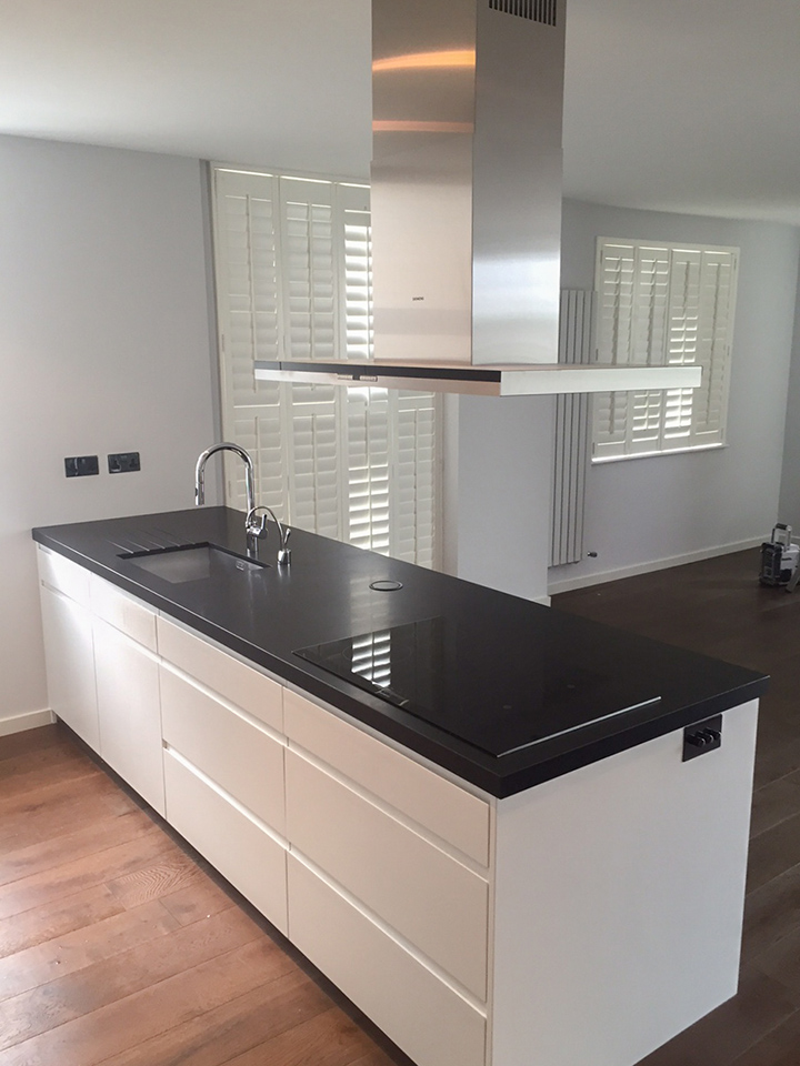 linear slab white kitchen