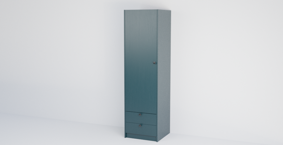 Single Slab Wardrobe with 2 Drawers