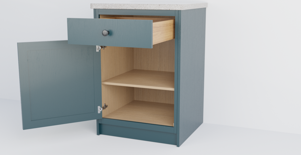 In-Frame Single Slab Cabinet With Drawer