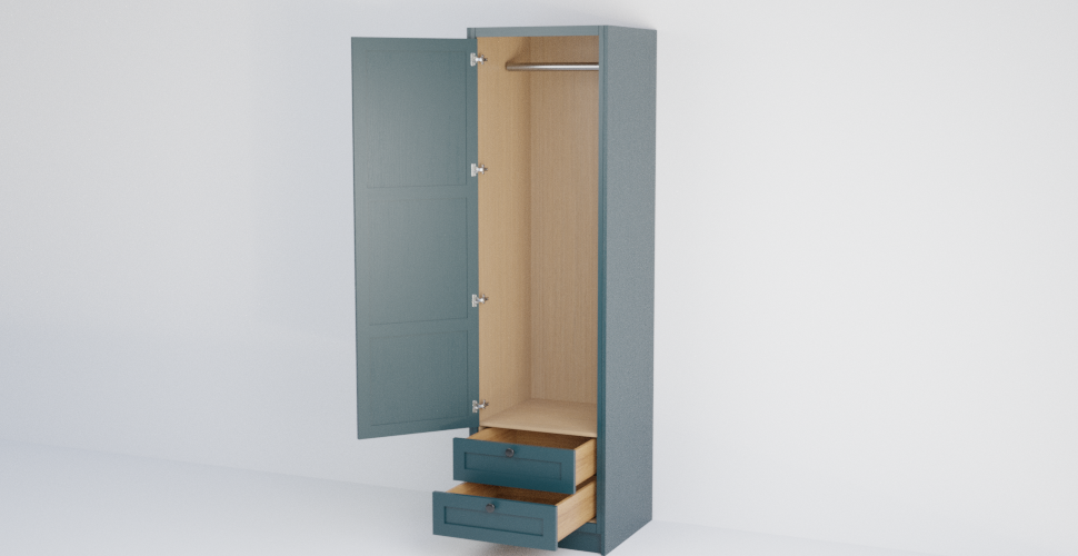 In-Frame Single Shaker Wardrobe with 2 Drawers