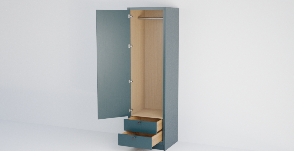 In-Frame Single Slab Wardrobe with 2 Drawers