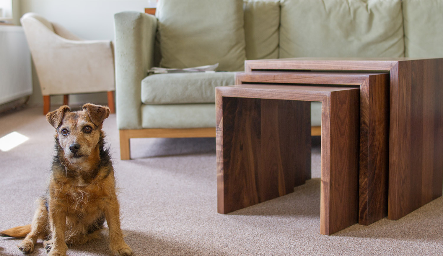 walnut nested coffee tables